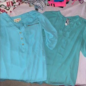 2 gorgeous blue tops